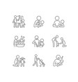 responsible parenthood linear icons set vector image vector image