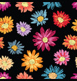 seamless background of colorful drawn chamomiles vector image vector image