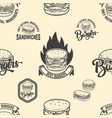 seamless pattern with burgers design element vector image vector image
