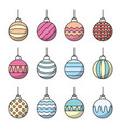 set christmas balls icon line art vector image vector image