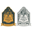 set hand-drawn wine labels with bunch grapes vector image vector image