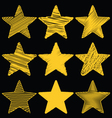 Set Of Hand Drawn Scribble Gold Stars Icon Set 1 vector image vector image