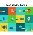 Set with serving food hands vector image vector image