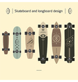 Skateboard and longboard design vector image vector image