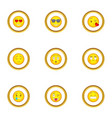 smile face icons set cartoon style vector image vector image
