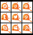 social media network background with circles and vector image