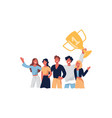 team celebrating victory smiling people vector image