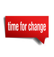 time for change red 3d speech bubble vector image vector image