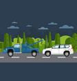 tow truck evacuating broken car vector image vector image