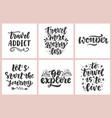 travel slogan set hand drawn poster vector image vector image