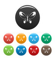 wide wing butterfly icons set color vector image vector image