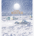 winter snowing background small house and vector image