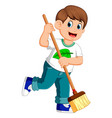young man sweeping the dirt vector image