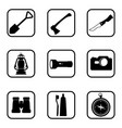 hiking and camping icons on white background vector image