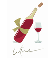 wine bottle with a glass vector image