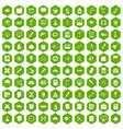 100 compass icons hexagon green vector image vector image
