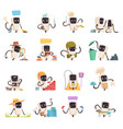 artificial intelligence robots icons set vector image vector image