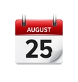 August 25 flat daily calendar icon Date vector image vector image