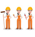 beautiful female builder in uniform vector image vector image