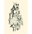 Black alphabet letters vector image