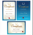 blue certificate collection vector image