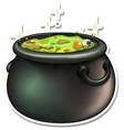 cauldron with green potion cartoon sticker vector image