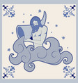 ceramic tile bearded waterhound pouring water vector image