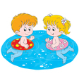 Children swim with inflatable circles vector image