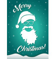 christmas greeting card with santa hat and beard vector image