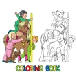 Coloring book with children and a pony vector image vector image