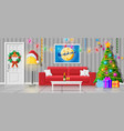 cozy interior of christmas living room vector image vector image