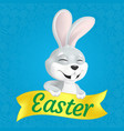 cute smiling and squinting easter bunny with vector image