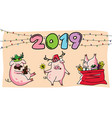cute three pink pigs new year 2019 vector image