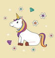cute unicorn sitting with flowers and diamonds vector image vector image