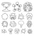 different explosions outline icons in set vector image vector image