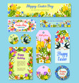 easter egg floral tag and greeting poster set vector image vector image
