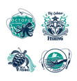 fishing sport club or trip icons set vector image vector image