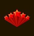 five stars raiting burst red stars vector image