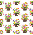 flowers in basket seamless pattern vector image