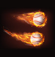 flying in flames baseball balls realistic vector image