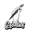 hand drawn of woman hand holding artistic brush vector image