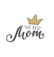 handwritten lettering of the best mom on white vector image vector image