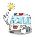 have an idea ambulance mascot cartoon style vector image
