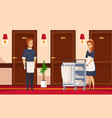 hotel staff cartoon composition vector image