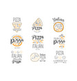 italian pizza fast food promo labels collection vector image