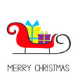 merry christmas santa claus sleigh with gift box vector image vector image