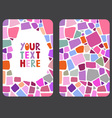 Mosaic card templates on white background vector image vector image