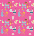 mother with pram seamless pattern in retro style vector image
