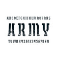 narrow stencil-plate serif font in military style vector image vector image