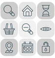 network icons set with trading basket magnifier vector image vector image
